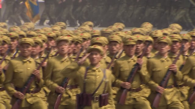 north korean army personnel march in formation during a parade in countries capital pyongyang 2017 - military parade stock videos & royalty-free footage