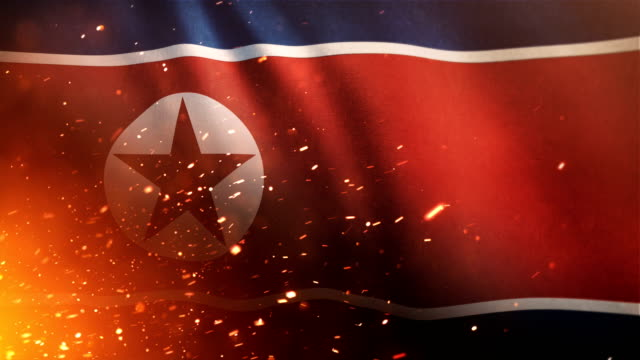 North Korean Flag - Crisis / War / Fire (Loop)