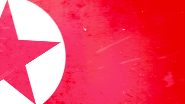north korean flag - grunge. hd - frayed stock videos & royalty-free footage