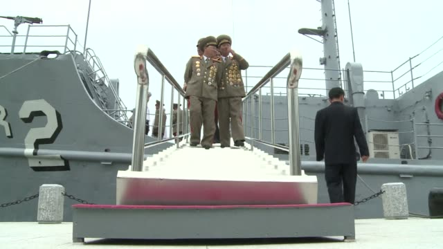 north korean leader kim jong un unveiled saturday a renovated korean war museum with a us baiting centrepiece in the form of the spy ship uss pueblo... - pueblo built structure stock videos & royalty-free footage