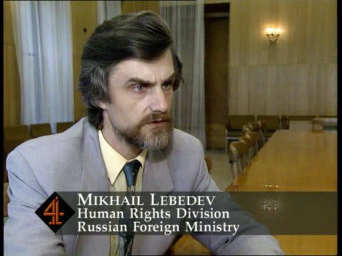 vídeos de stock, filmes e b-roll de mikhail lebedev intvwd sot we are very concerned with conditions in these korean units / we have agreed with the koreans on improvements - forester