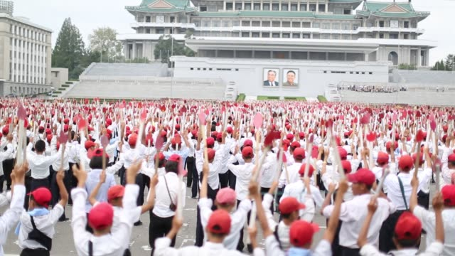 north korean schoolchildren practicing mass dance - north korea stock videos & royalty-free footage