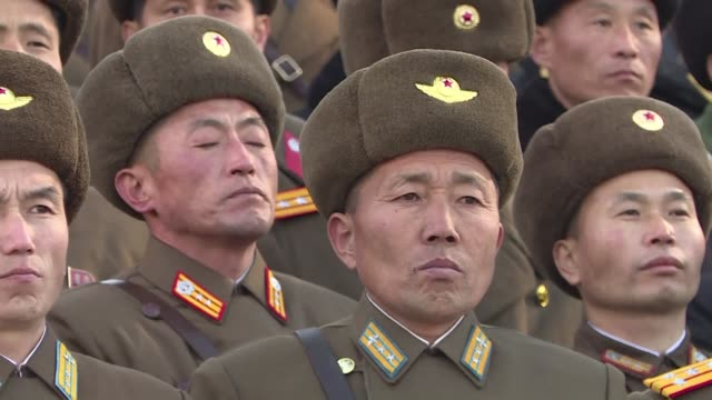 stockvideo's en b-roll-footage met north koreans celebrate after the testing of a missile the regime says is capable of striking the us - raket wapen