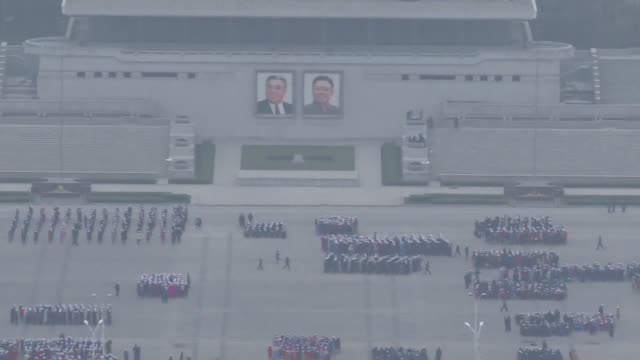 north koreans gather at kim ilsung square to rehearse ahead of an expected parade to celebrate the 105 birth anniversary of the country's founder - founder stock videos and b-roll footage