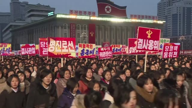 North Koreans gather for a mass rally in Pyongyang to show support to Kim Jong Un's New Year message in which the he warned the United States he has...