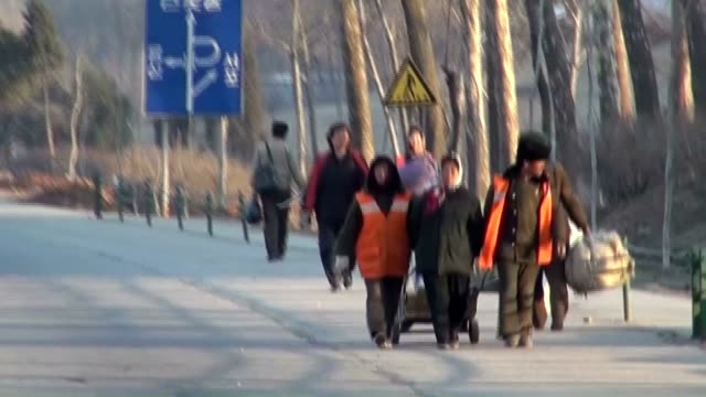 north korea's capital pyongyang appeared to be in an unruffled businessasusual atmosphere on april 11 worlds apart from the recent bout of... - trolleybus stock-videos und b-roll-filmmaterial