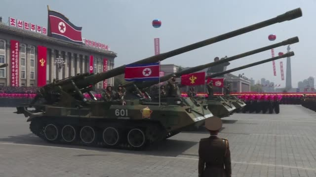 north korea's weapons of war roll through pyongyang streets and it promises nuclear justice in response to any atomic attack as leader kim jong-un... - weaponry stock videos & royalty-free footage