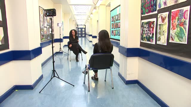north london headteacher named britain's headteacher of the year; england: london: barnet: copthall school: int evelyn forde setup shots as standing... - barefoot stock videos & royalty-free footage