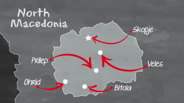 vídeos de stock, filmes e b-roll de mapa da macedônia do norte - república da macedônia