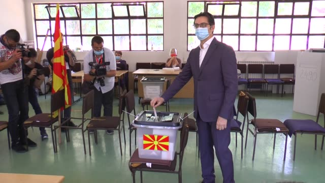 north macedonia's president stevo pendarovski casts his ballot in the early general elections at a polling station on july 15, 2020 in skopje. more... - 12 13 years stock videos & royalty-free footage