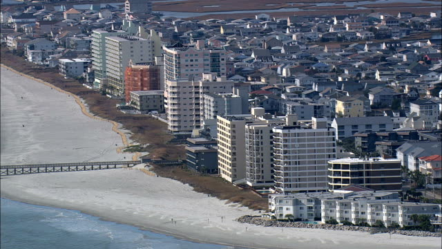 north myrtle beach  - aerial view - south carolina,  horry county,  united states - north stock videos & royalty-free footage