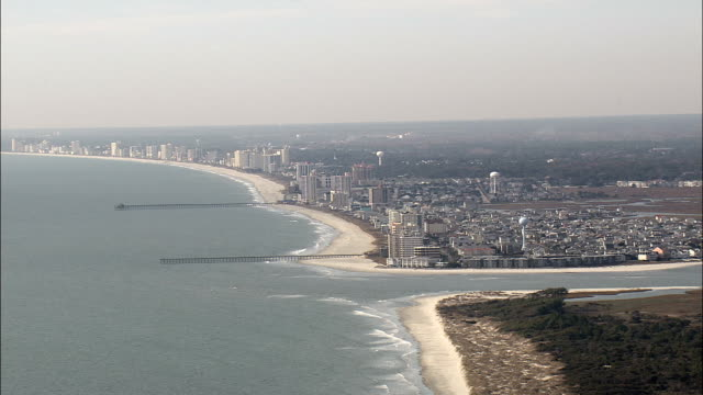north myrtle beach  - aerial view - south carolina,  horry county,  united states - carolina beach stock videos and b-roll footage