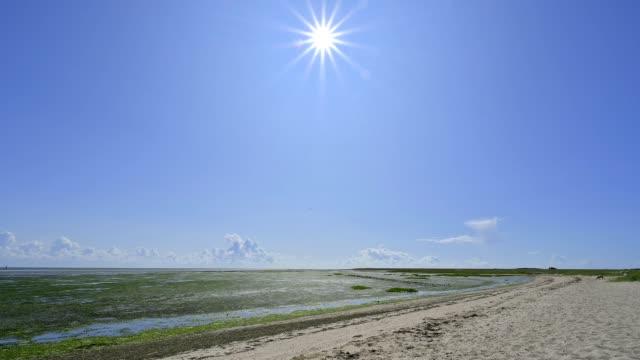 north sea beach with sun at low tide, romo, röm, tonder kommune, syddanmark, southern denmark, denmark - kommune stock-videos und b-roll-filmmaterial