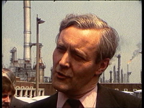 tony benn mp officially opening first oil rig in the north sea in 1975 tony benn mp interview sot - a day of congratulation for the firms and the... - トニー ベン点の映像素材/bロール