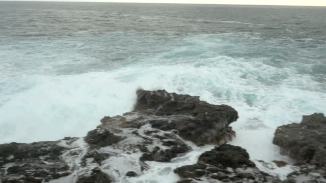 north shore hawaii waves on lava rock - north pacific ocean stock videos & royalty-free footage