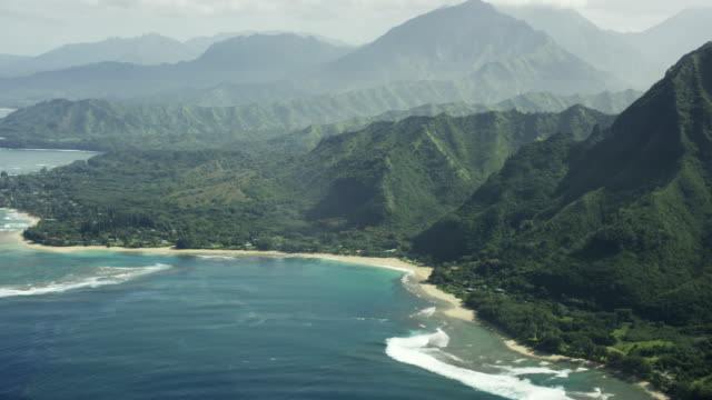 north shore kauai shoreline aerial shot - oahu stock videos and b-roll footage