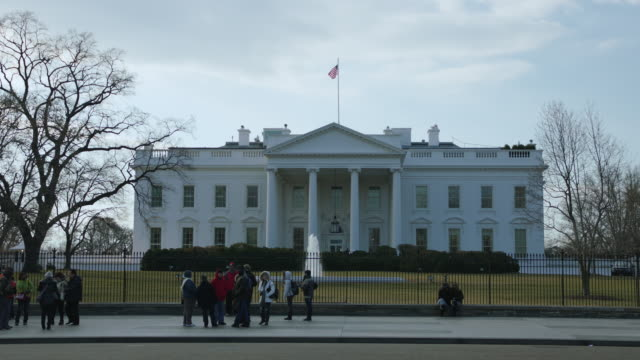 north side of the white house in winter - white house stock videos and b-roll footage