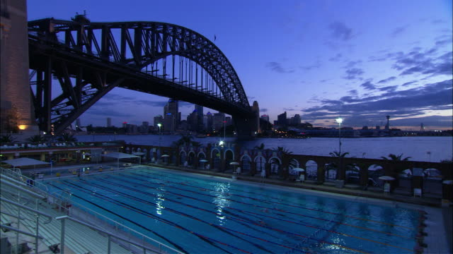 ws ha north sydney olympic pool and downtown skyline, sydney, new south wales, australia - establishing shot stock videos & royalty-free footage