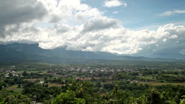 north thailand landscape, panning shot of mountains, hills villages - mae hong son province stock videos and b-roll footage