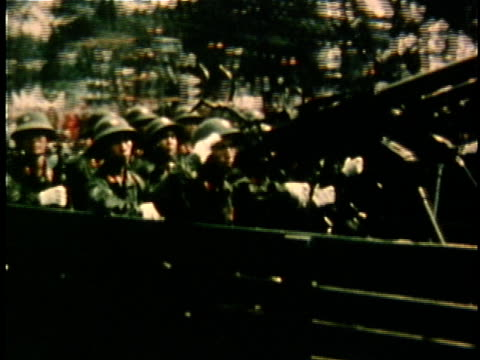 north vietnamese soldiers in armored vehicle passing in review following the end of the vietnam war / vietnam - comunismo video stock e b–roll