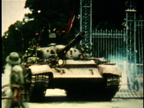 north vietnamese tank crashing through gates of presdiential palace during the fall of saigon / south vietnam - 1975 stock videos & royalty-free footage