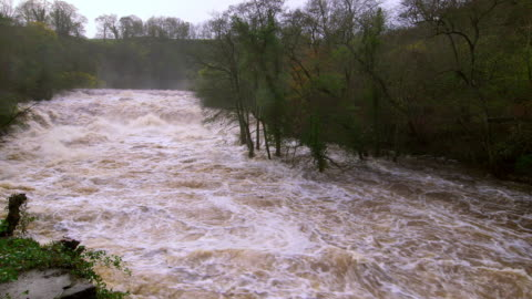 north yorkshire floods - rapids river stock videos & royalty-free footage