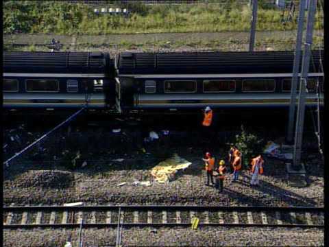 Selby train crash LIB Hertfordshire Hatfield Wrecked carriages of derailed train at side of track LIB London Ladbroke Grove TGV Wrecked carriages of...