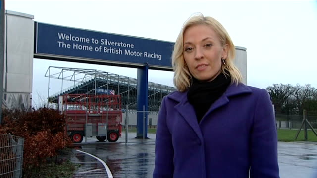 silverstone: ext reporter to camera - silverstone stock videos & royalty-free footage