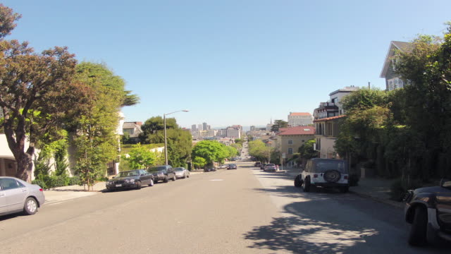 northbound on streets of san francisco including lombard street - lombard street san francisco stock videos & royalty-free footage