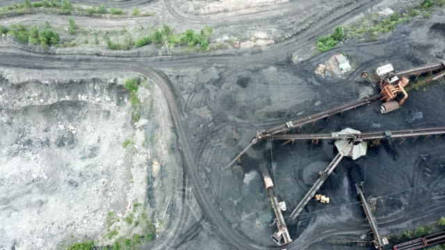 northeast china, a coal mine to be depleted.aerial view of opencast mining quarry - exhaustion stock videos & royalty-free footage