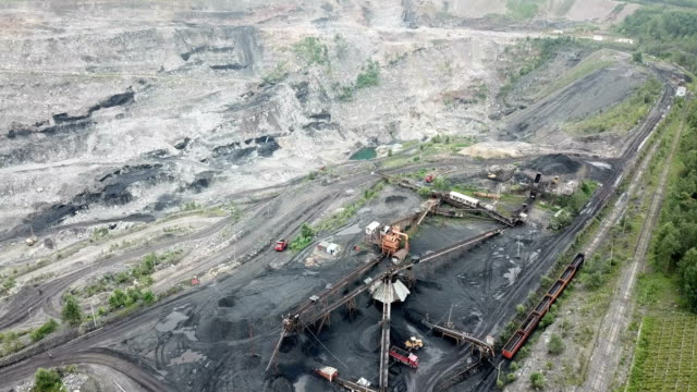 northeast china, a coal mine to be depleted.aerial view of opencast mining quarry - iron metal stock videos & royalty-free footage