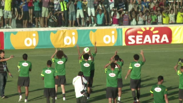 northeastern brazil is celebrating the first visit by the national team in 11 years clean selecao fever hits the brazilian town on june 19 2013 in... - northeastern brazil stock videos and b-roll footage