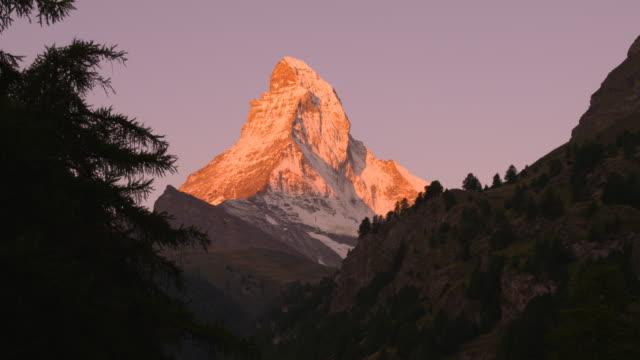 Northeastern side of the Matterhorn at dawn (tilt up)