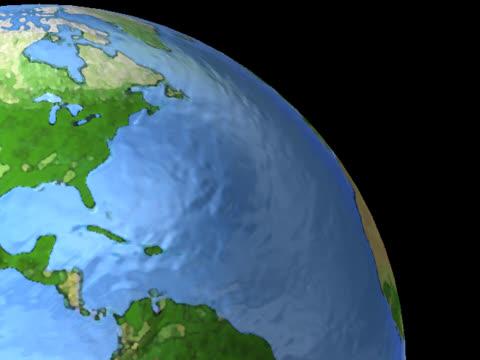 northern hemisphere on luminous globe spinning on left - northern hemisphere stock videos & royalty-free footage