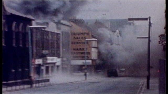 1972 claudy bombings investigation reveals coverup 1972 car bomb explodes in deserted street outside shop belfast british troops firing at youths... - 1972 stock videos & royalty-free footage