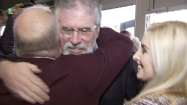 sinn fein makes gains while dup remains largest party northern ireland belfast photography** orlaithi flynn and others celebrating gerry adams... - sinn fein stock videos & royalty-free footage
