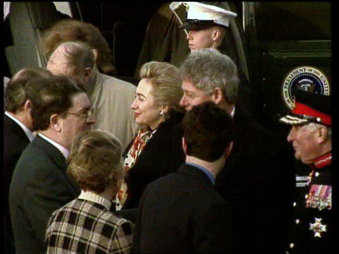 bill clinton visit northern ireland belfast bill clinton away towards gerry adams they shake then clinton waves as he follows adams into mcerleans... - john major stock videos & royalty-free footage