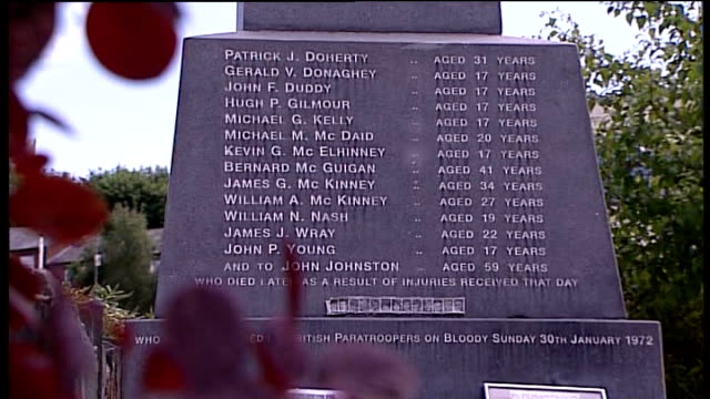 bloody sunday killings saville report exonerates bloody sunday victims names of dead engraved on bloody sunday memorial stone close up of memorial - saville report stock videos & royalty-free footage