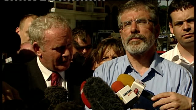 bloody sunday killings saville report exonerates bloody sunday victims adams and mcguiness reactions mcguinness speaking to press sot saville report... - saville report stock videos & royalty-free footage