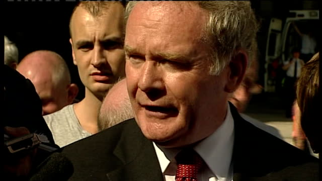 bloody sunday killings saville report exonerates bloody sunday victims adams and mcguiness reactions questions martin mcguinness speaking to press... - saville report stock videos & royalty-free footage