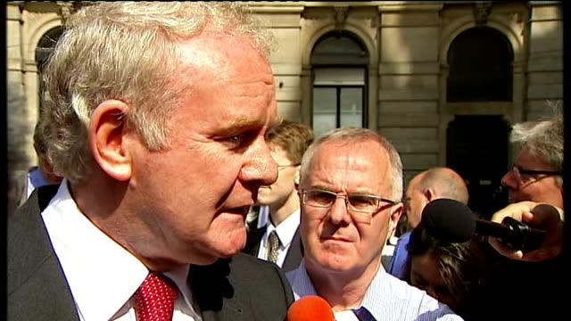 bloody sunday killings saville report silent march mcguinness comments martin mcguinness speaking to press sot not for me important to hear what the... - saville report stock videos & royalty-free footage
