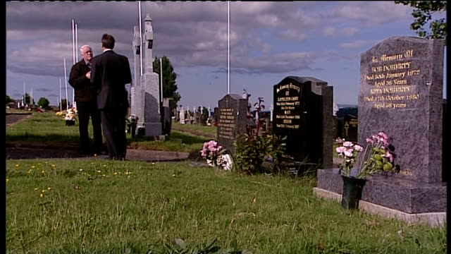 bloody sunday killings saville report to be published on tuesday 14th june 2010 northern ireland londonderry ext reporter along with john kelly in... - saville report stock videos & royalty-free footage
