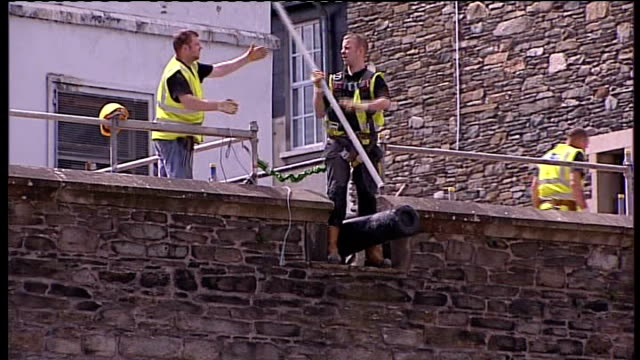 bloody sunday killings saville report to be published on tuesday 14th june 2010 northern ireland londonderry guildhall various shots of workmen... - saville report stock videos & royalty-free footage