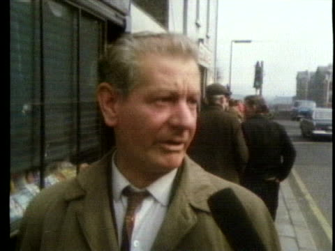 northern ireland citizen reacts to british prime minister edward heath's announcement that britain will take over direct rule of northern ireland to... - (war or terrorism or election or government or illness or news event or speech or politics or politician or conflict or military or extreme weather or business or economy) and not usa stock videos & royalty-free footage