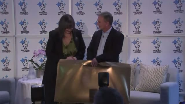 northern ireland couple win 115 million pounds euro millions jackpot press conference and photocall northern ireland belfast culloden hotel... - cheque financial item stock videos & royalty-free footage