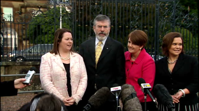 sinn fein gerry adams statement northern ireland county down hillsborough castle ext gerry adams mla mp and others along to microphones for presser... - new chance stock videos & royalty-free footage
