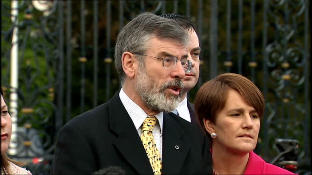 sinn fein gerry adams statement gerry adams press conference sot if anyone is listening to what citizens are sayingi do believe those in the assembly... - patient journey stock videos & royalty-free footage
