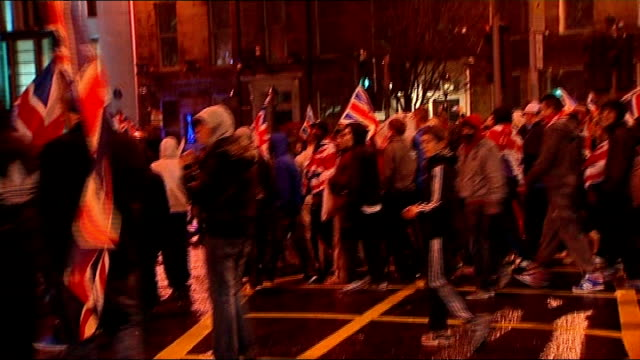 fourth night of rioting in belfast northern ireland belfast armoured land rovers of the police service of northern ireland parked across road with... - gable stock videos & royalty-free footage