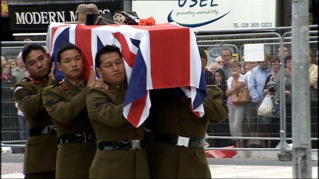 funeral held for gurkha soldier killed in afghanistan northern ireland county armagh portadown ext * * bagpipe music heard during the following shots... - county armagh stock videos and b-roll footage