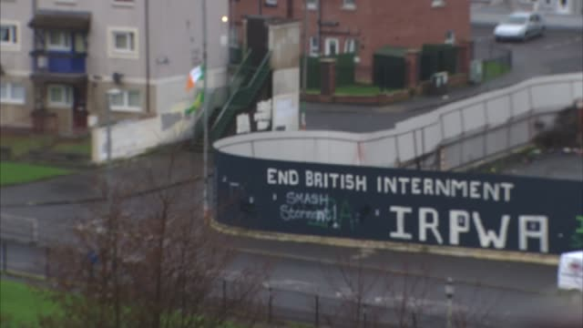 general views of londonderry northern ireland general views of londonderry political murals on walls / 'you are now entering free derry' sign on wall... - derry northern ireland stock videos & royalty-free footage